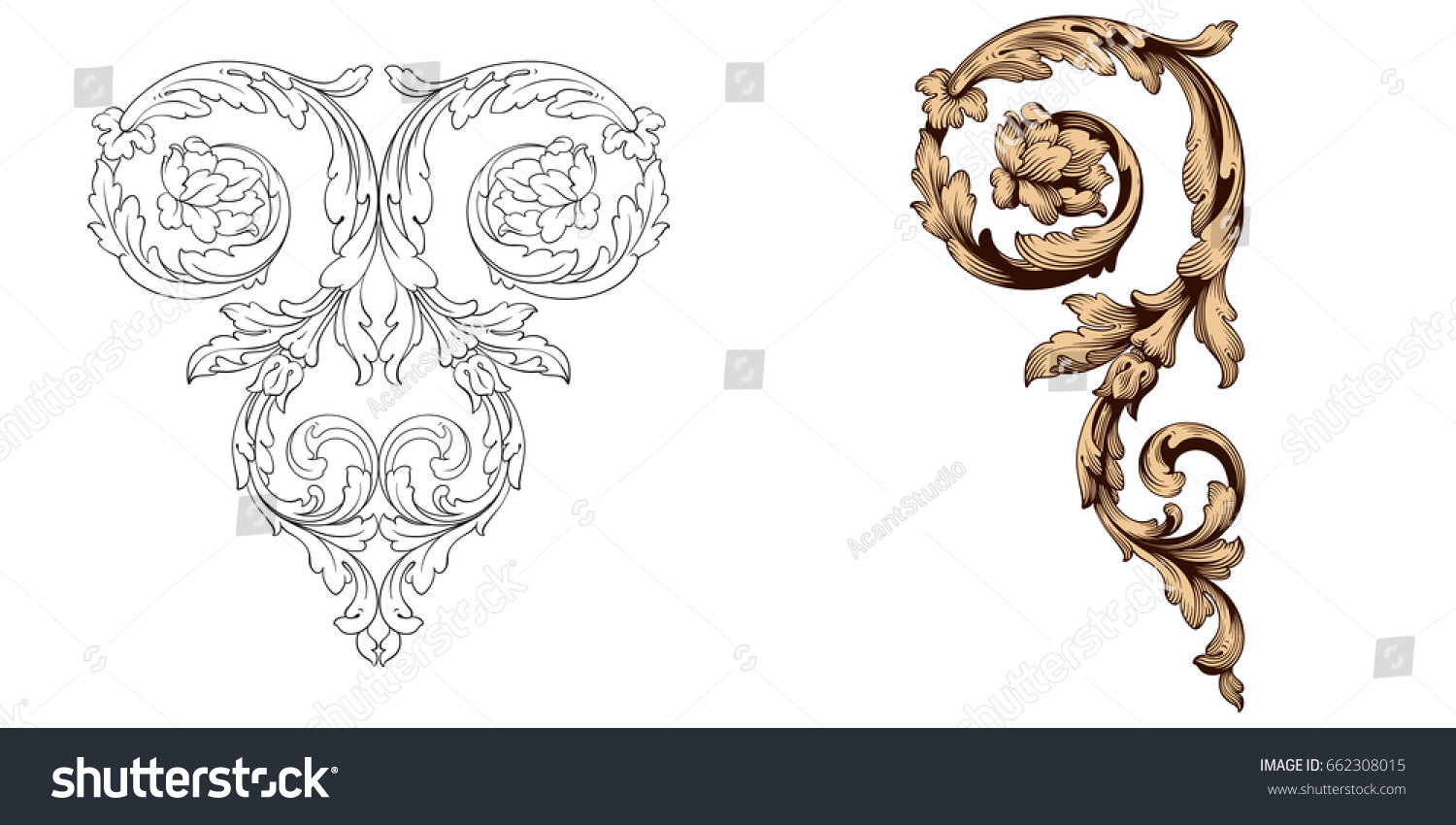 Baroque vector set vintage elements design stock vector for Baroque design elements