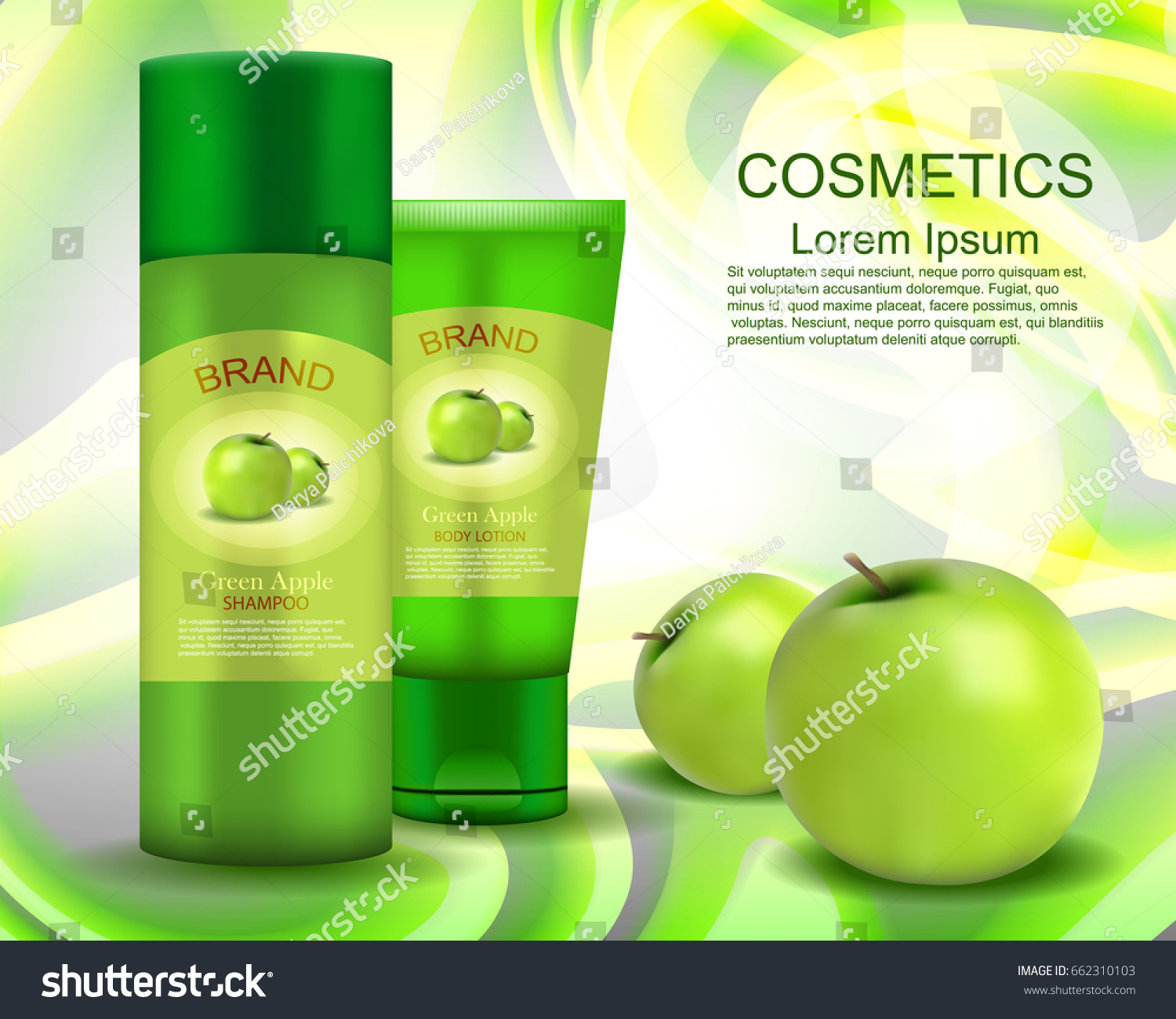 Shampoo Body Lotion Green Apple Realistic Stock Vector Royalty Free Kefir Cosmetics