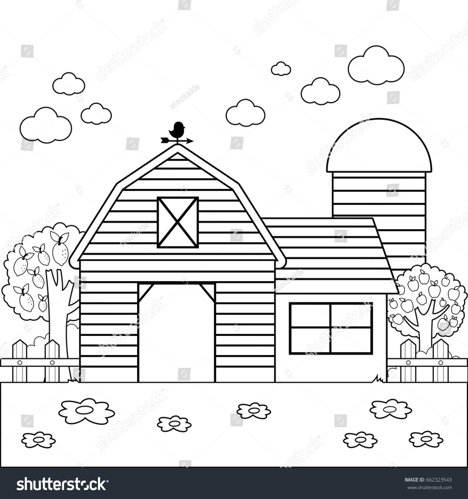 Landscape With Barn Or Farmhouse Fence And Orchard Trees Black White Coloring Book