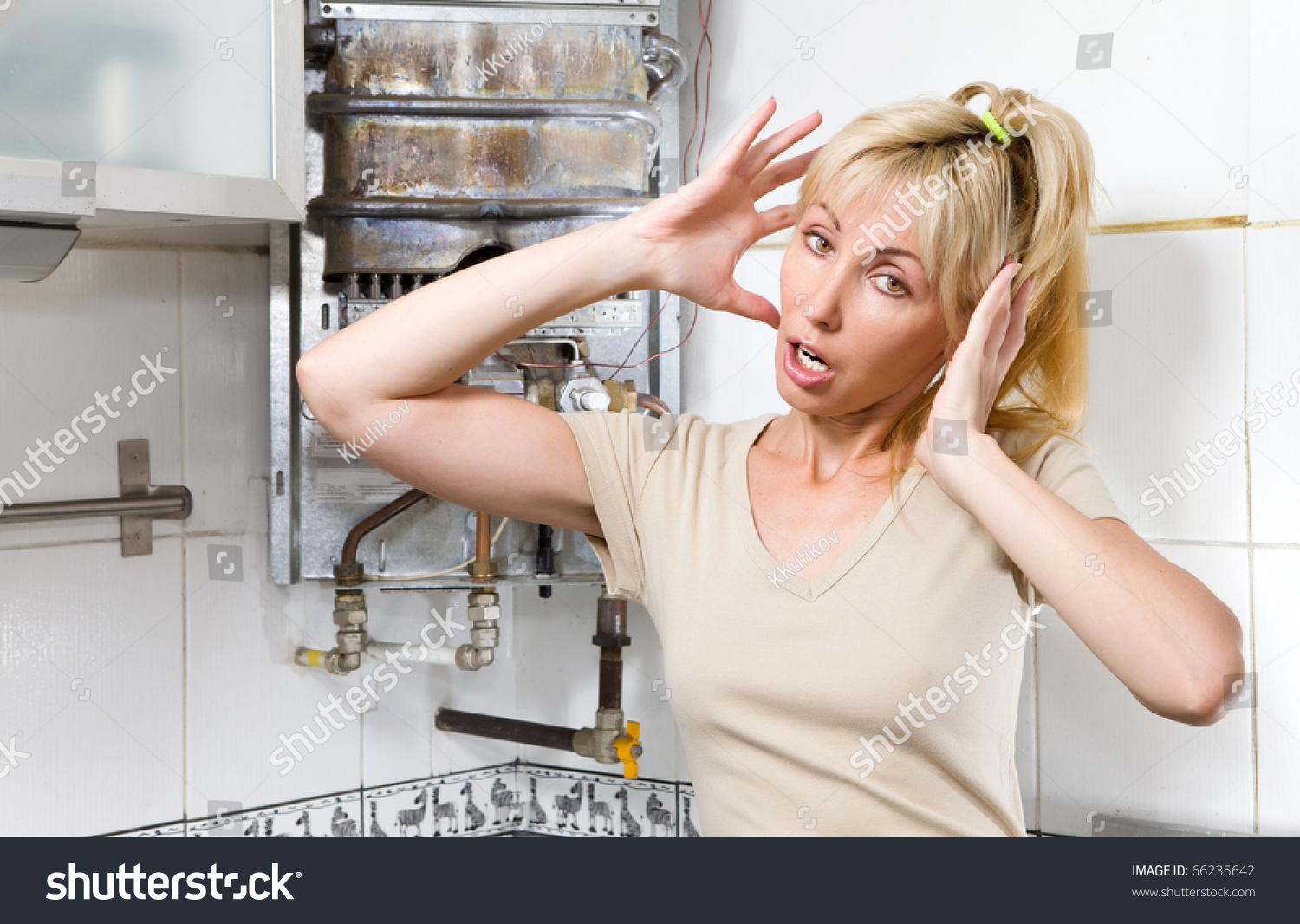 Young Woman Upset By That Gas Stock Photo 66235642 ...
