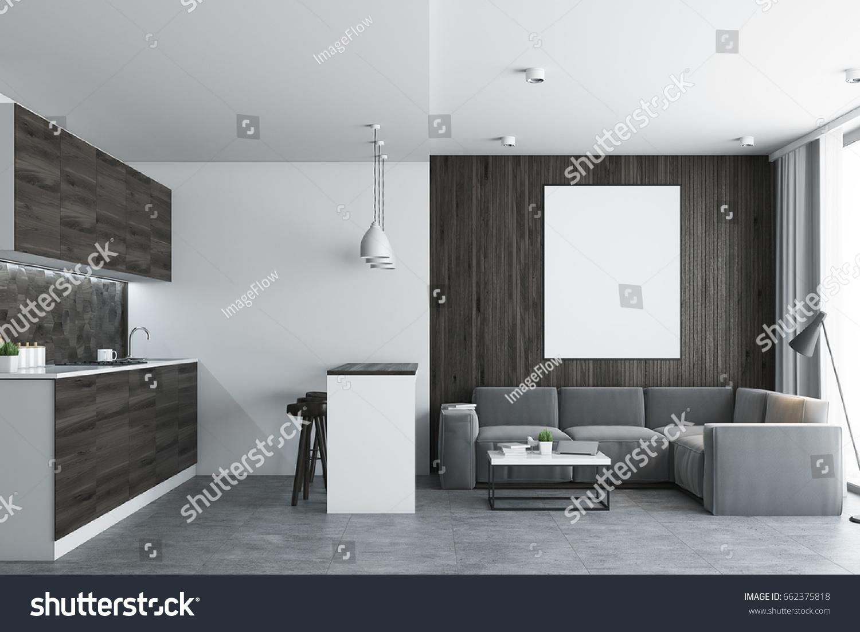Living Room Studio Apartment Wooden White Stock Illustration ...