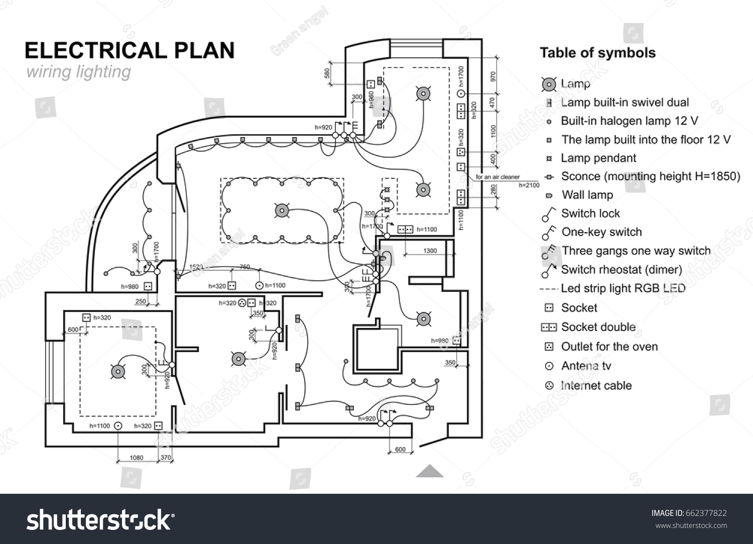 stock vector plan wiring lighting electrical schematic interior set of standard icons switches electrical 662377822 plan wiring lighting electrical schematic interior stock vector wiring schematic icons at eliteediting.co