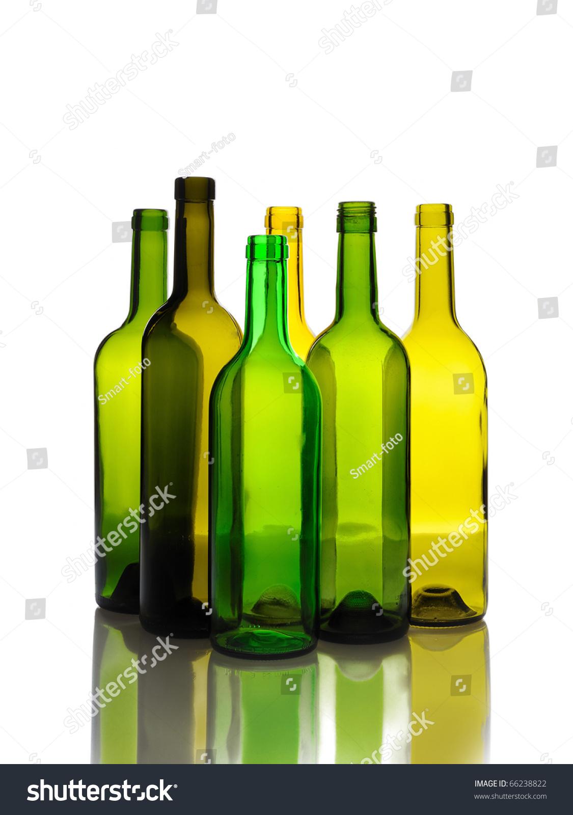 Many empty green wine bottles isolated stock photo for Green wine bottles