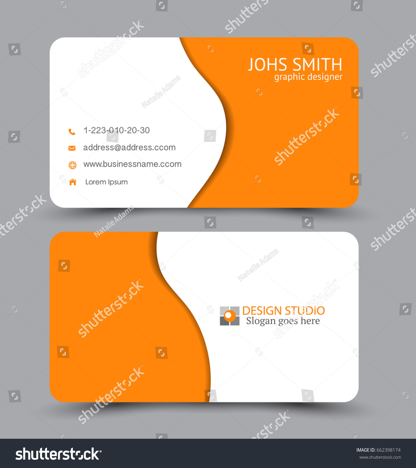 Business Card Design Set Template Company Stock Vector 662398174 ...