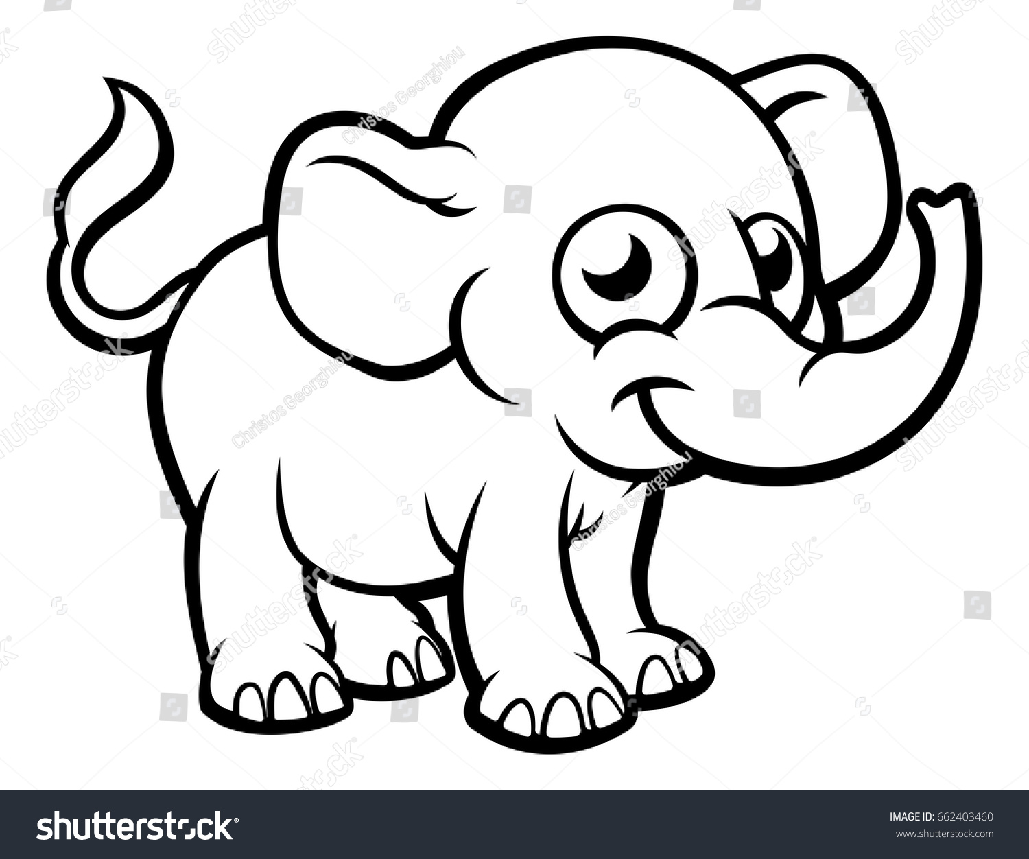 elephant cartoon character outline coloring illustration stock