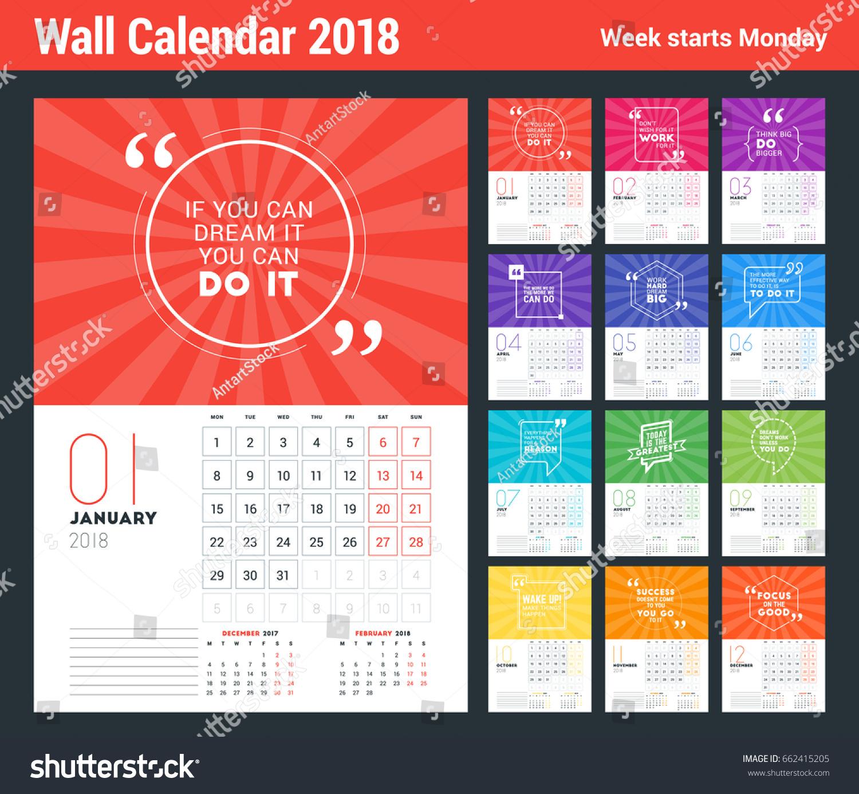 Wall Calendar Template 2018 Year Vector Stock Vector 662415205 ...