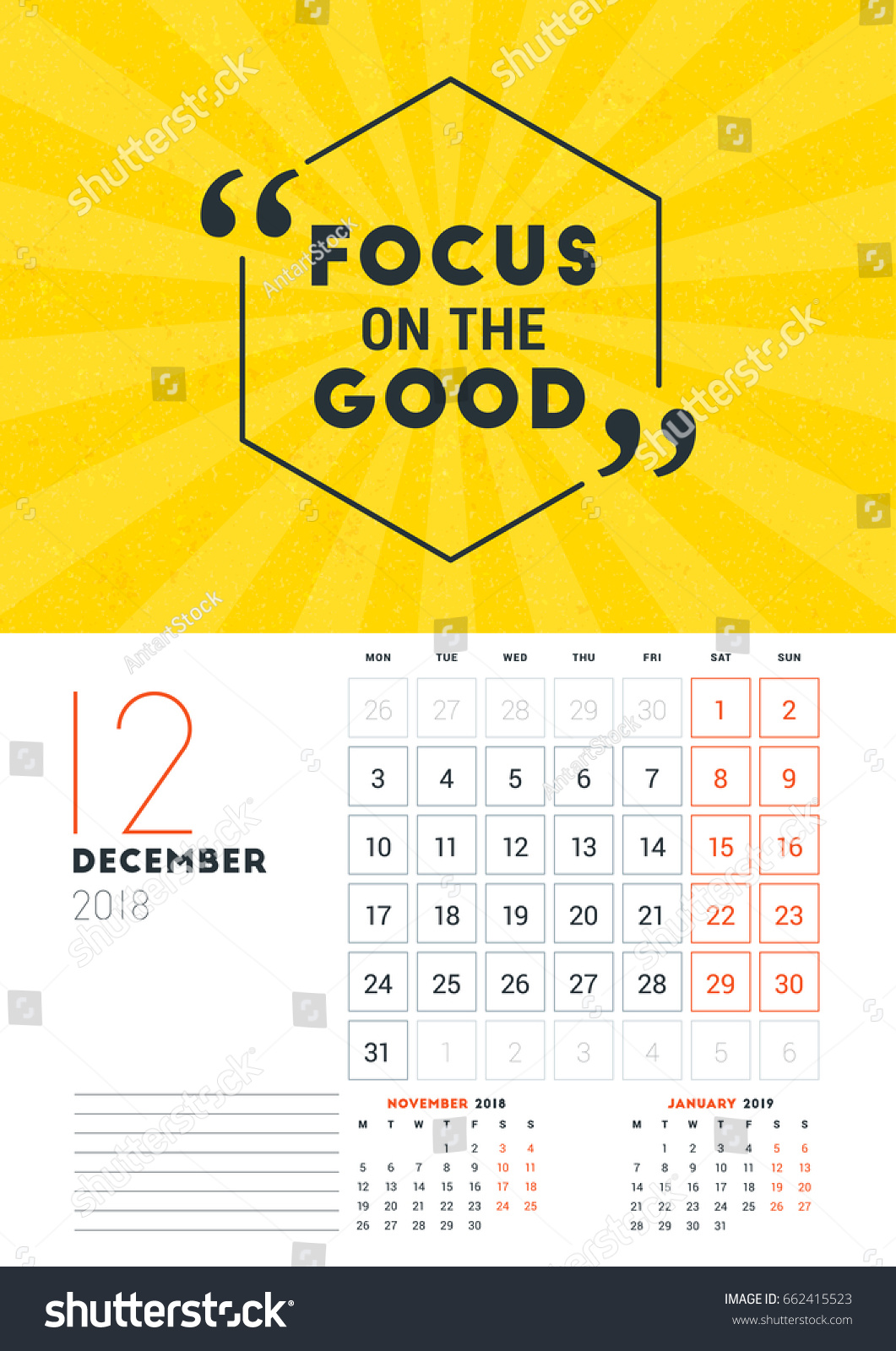 wall calendar template vector business finance