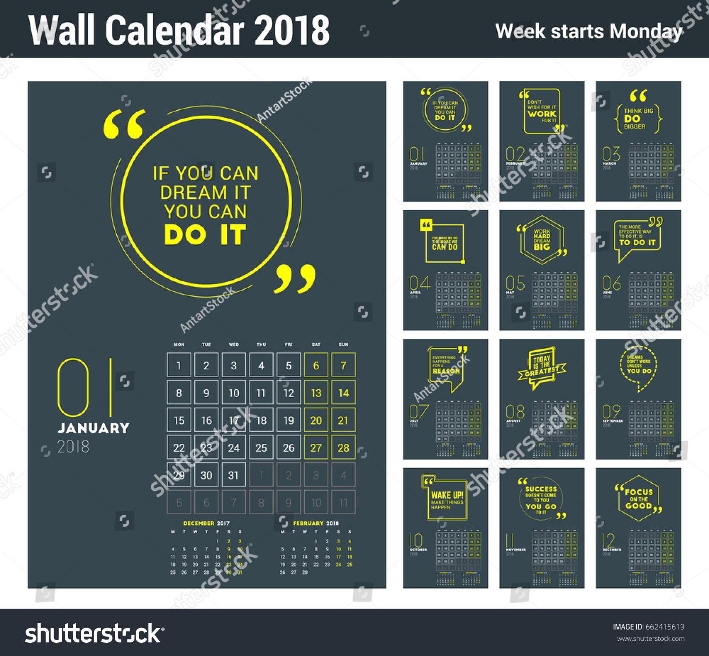 Calendar Design Quote : Wall calendar template year vector stock vector royalty free