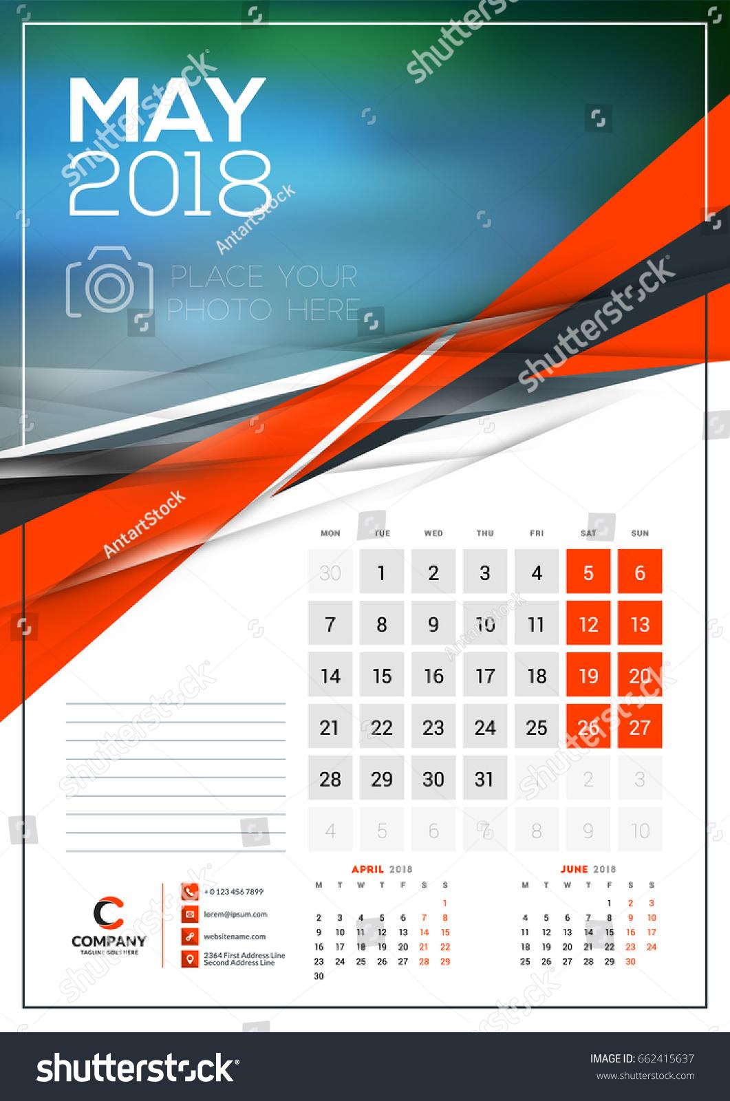 May Calendar Vector : Vector calendar template may stock