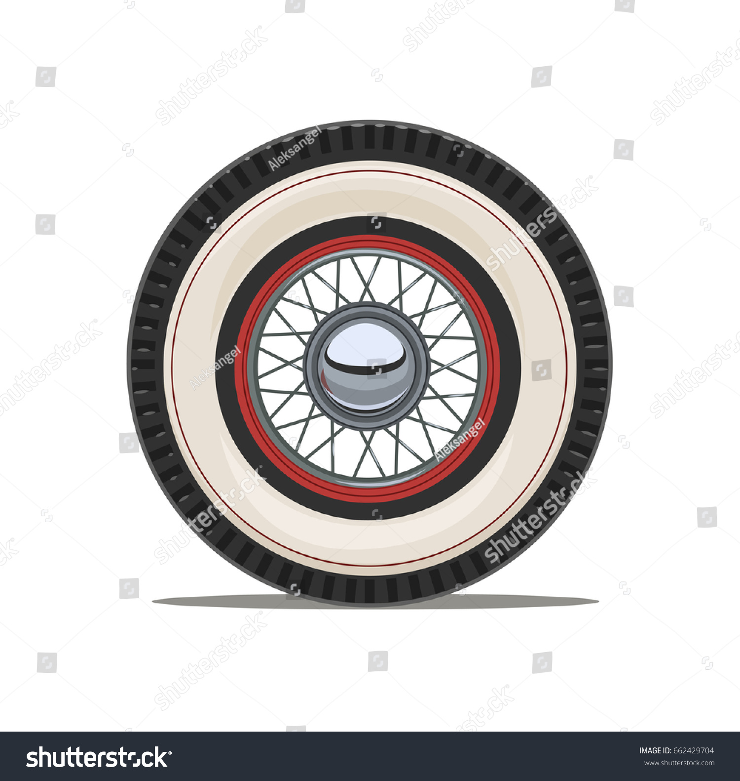 Vintage Car Wheel Spoke Isolated White Stock Vector 662429704 ...