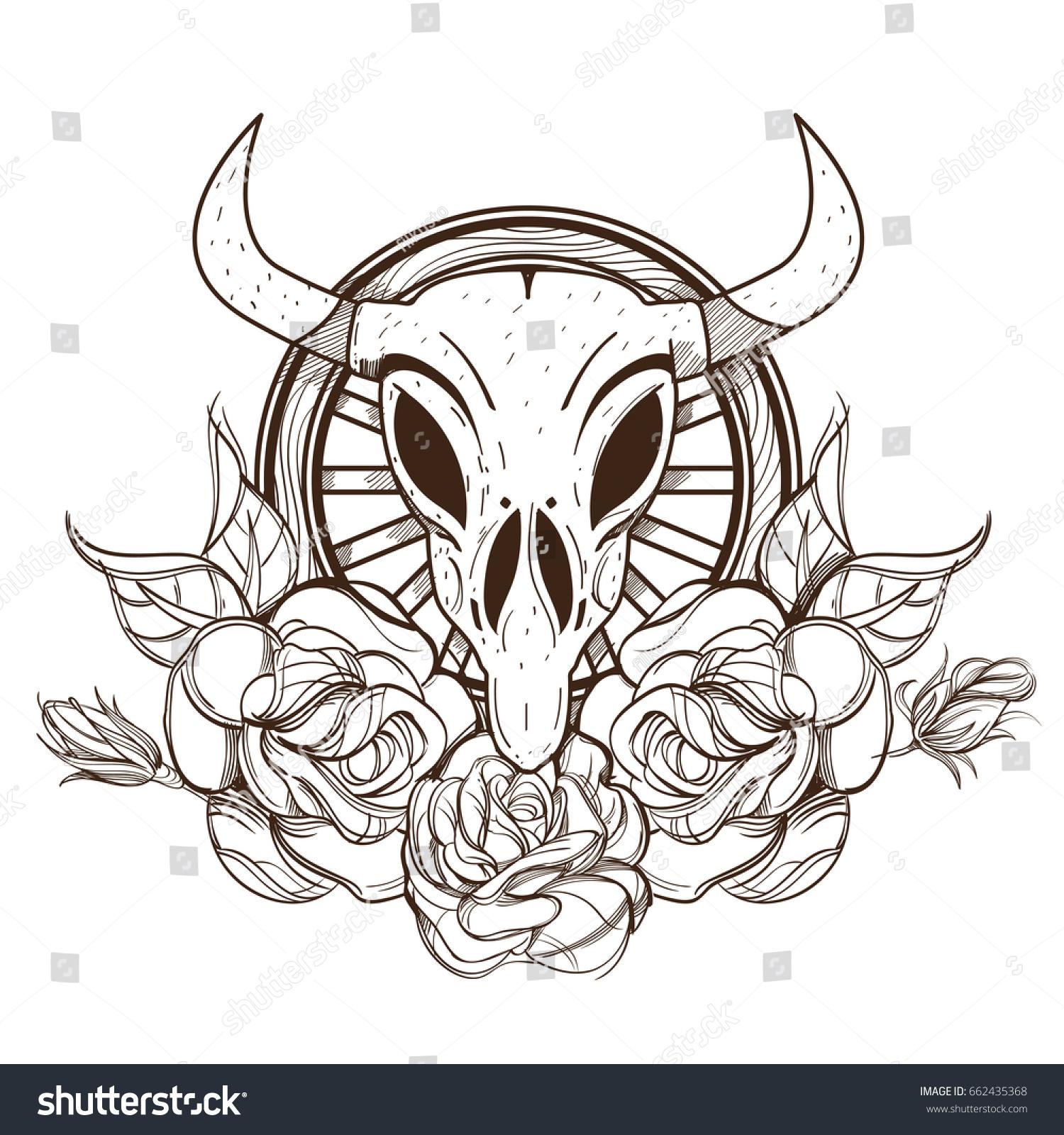cow bull skull roses outline vector stock vector 662435368