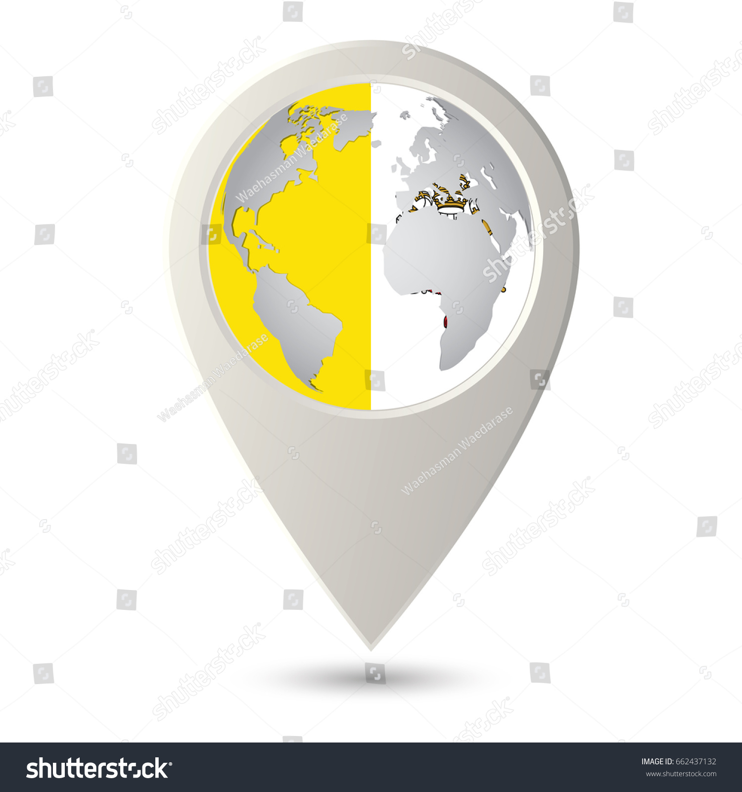 Vatican City State Flag Location Map Stock Vector 662437132