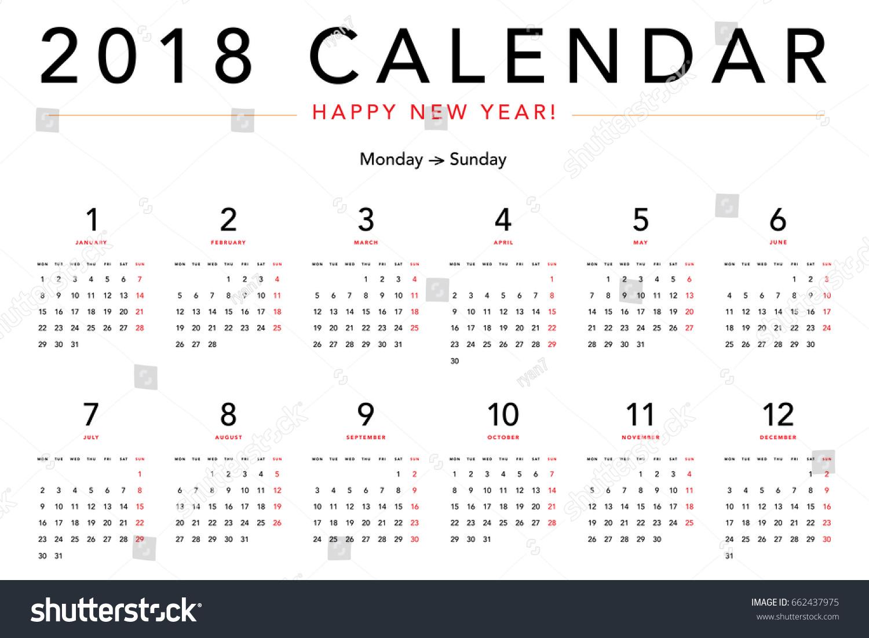 simple calendar layout 2018 years week stock vector royalty free