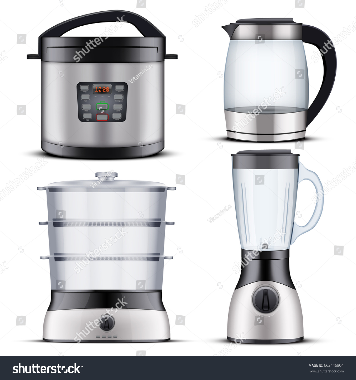 Set Original Electric Domestic Kitchen Appliances Stock Vector