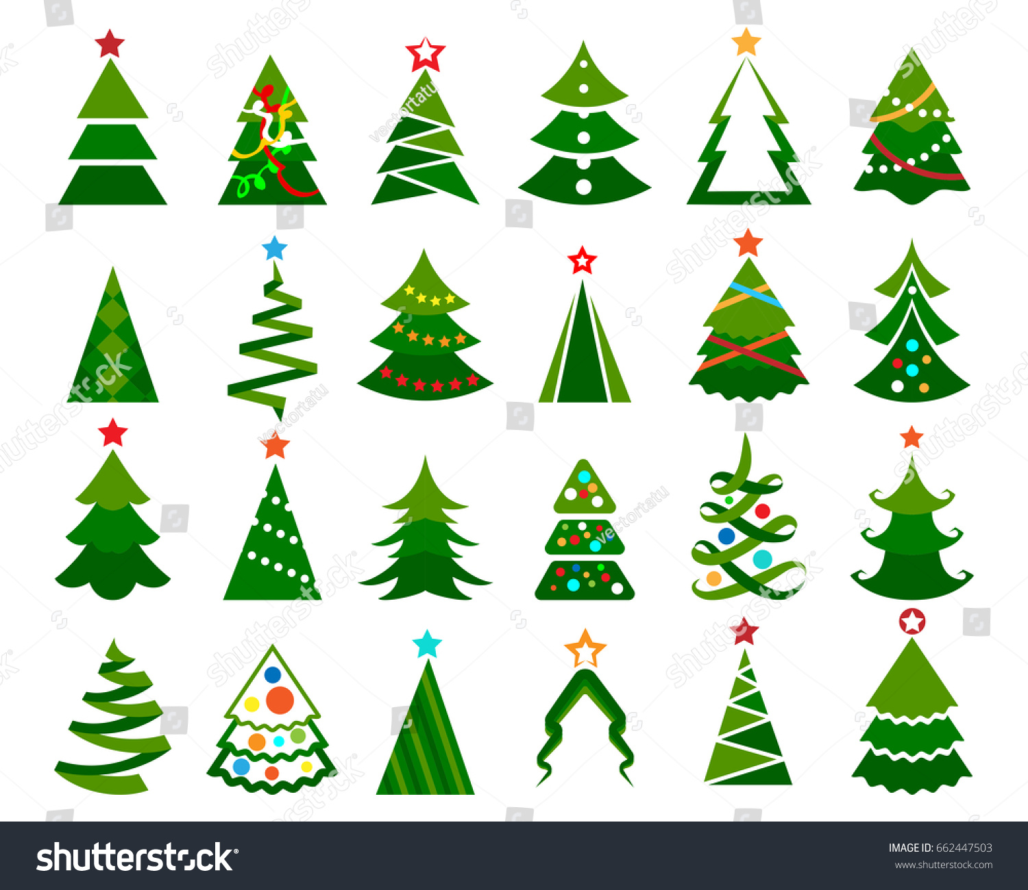 Christmas Tree Vector Set Cartoon Colored Stock Vector 662447503 ...