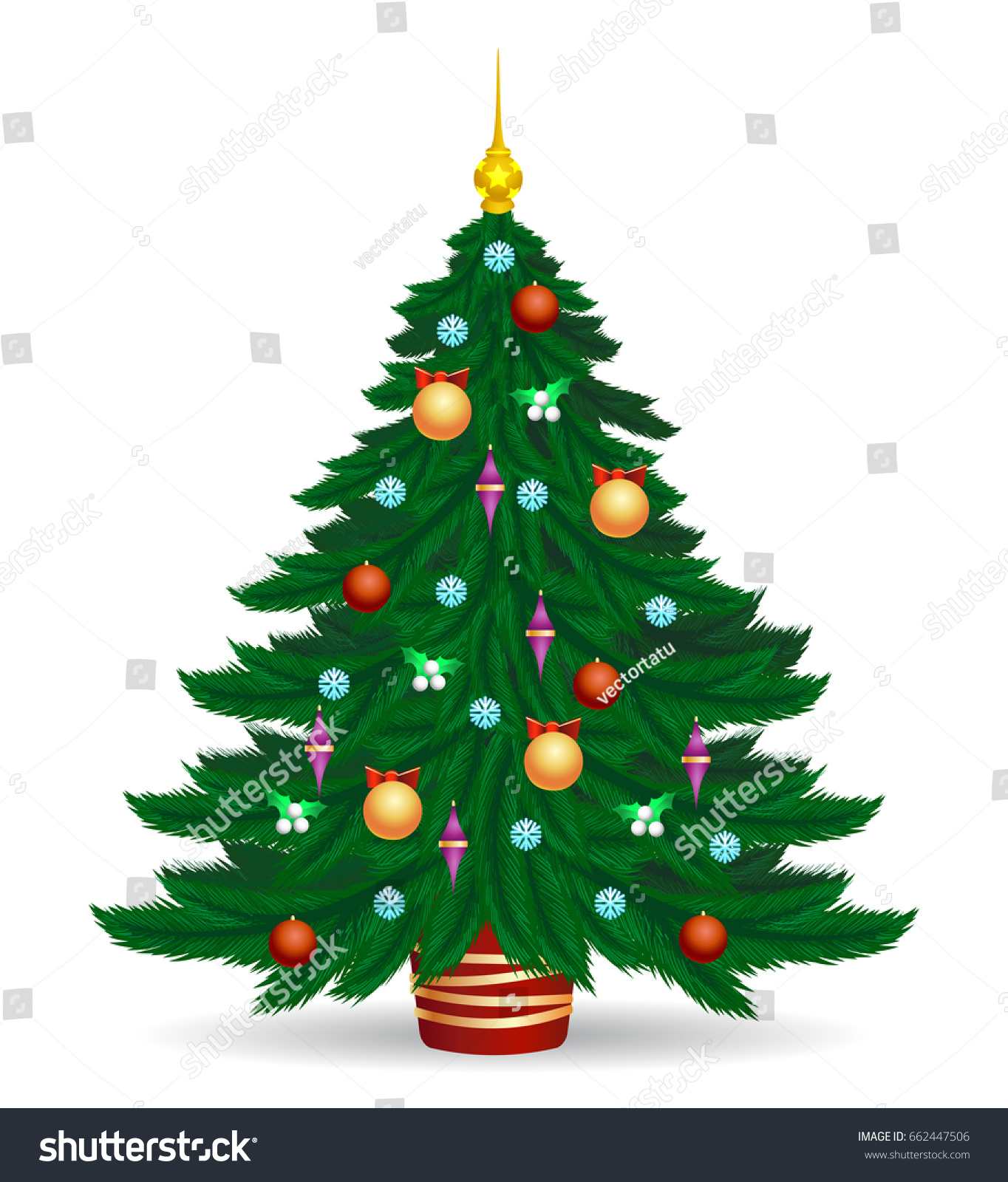 christmas tree vector illustration decorated colorful traditional xmas trees symbol with bright lights and balls