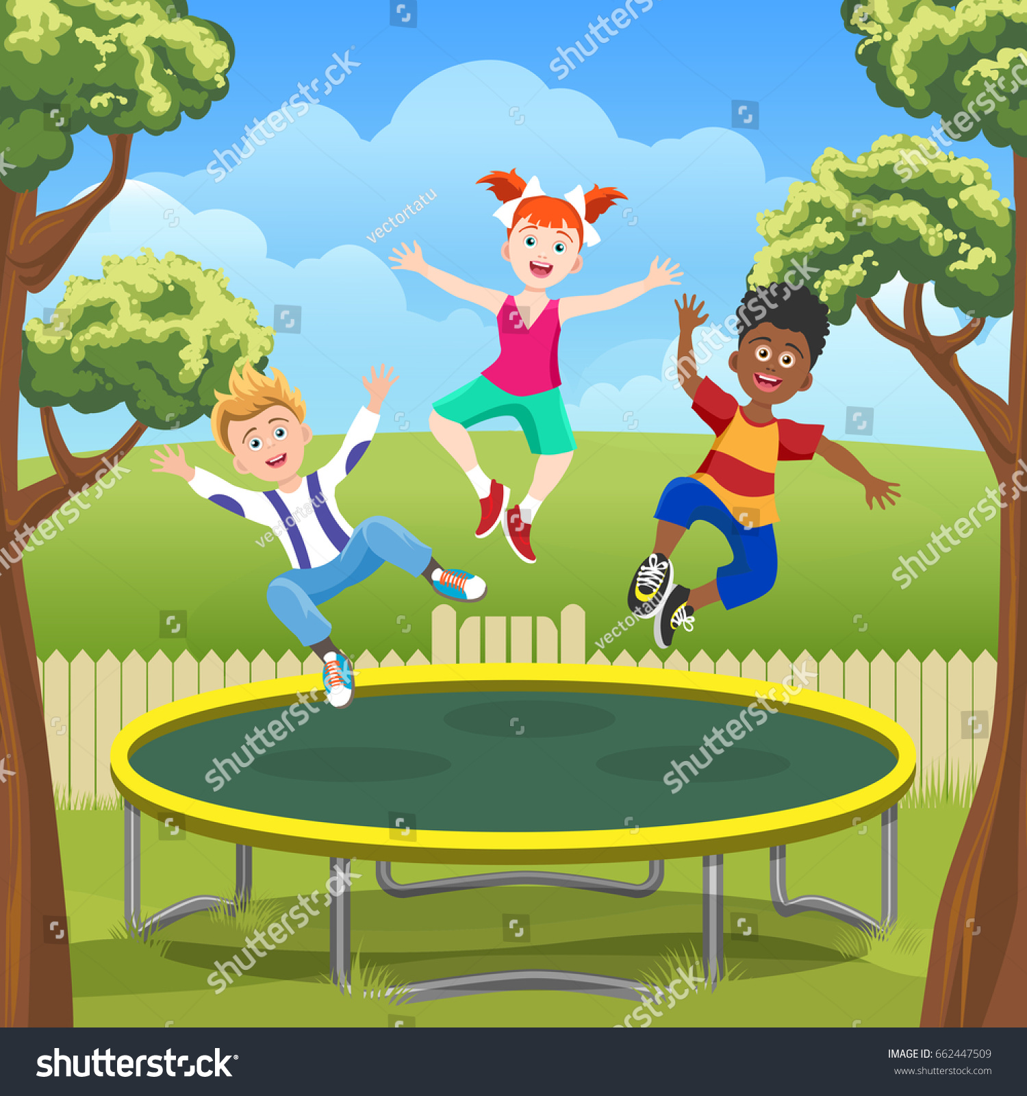 happy jumping kids on trampoline backyard stock vector 662447509
