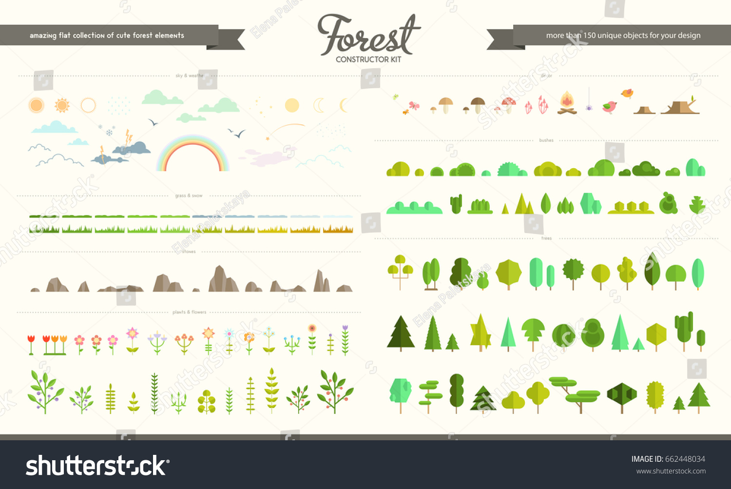 Vector set forest park weather elements stock vector royalty free vector set of forest park and weather elements various trees bushes grass ccuart Image collections