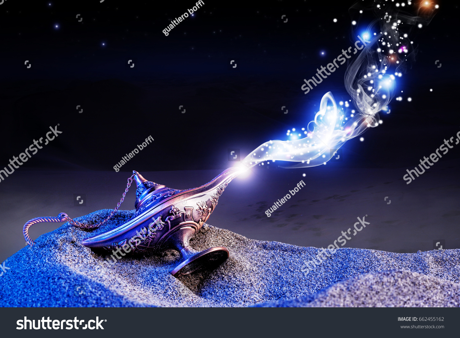 Aladdin Genie Magic Lamp On Desert Stock Photo (Royalty Free ... for Aladdin Desert Background  45ifm
