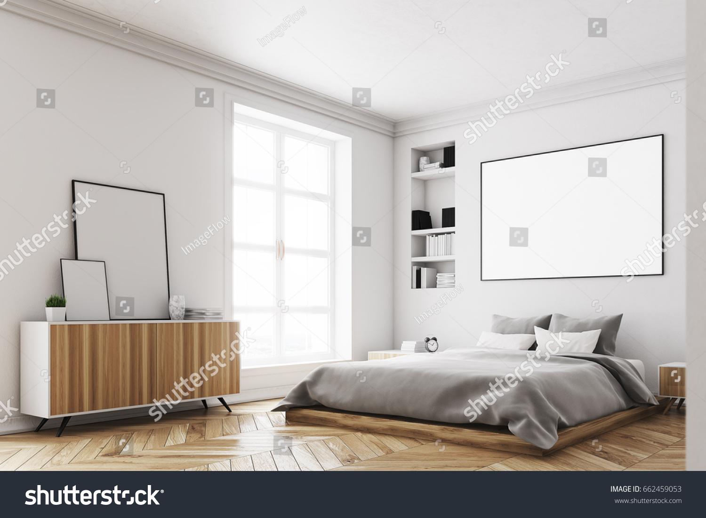 Corner Modern Luxury Bedroom White Walls Stock Illustration ...