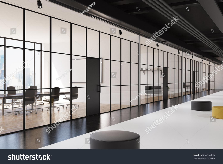 Office Lobby Interior Glass Walls Black Stock Illustration 662460817