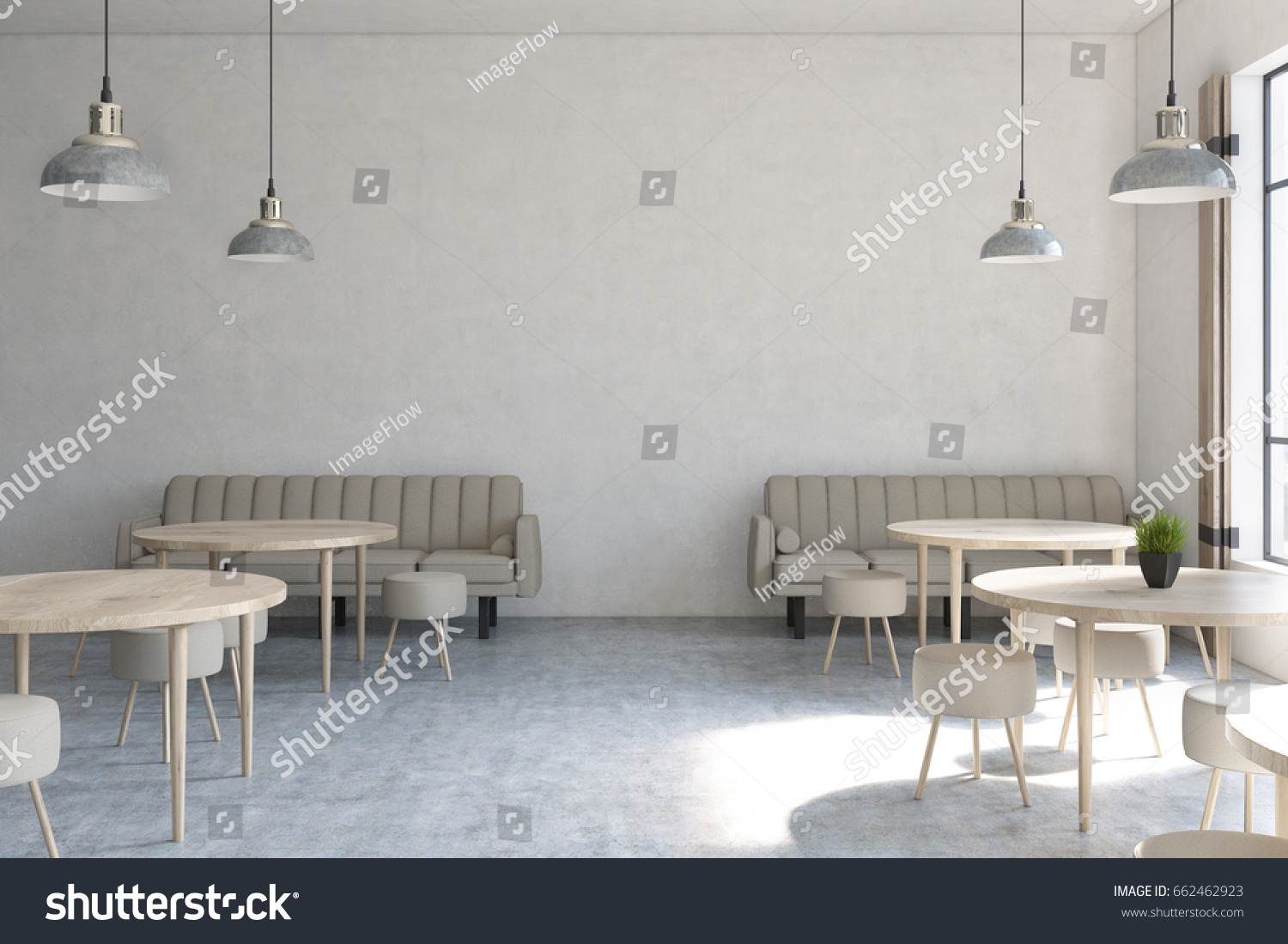 front view of a modern cafe interior with concrete walls wooden floor round tables - Concrete Cafe Interior