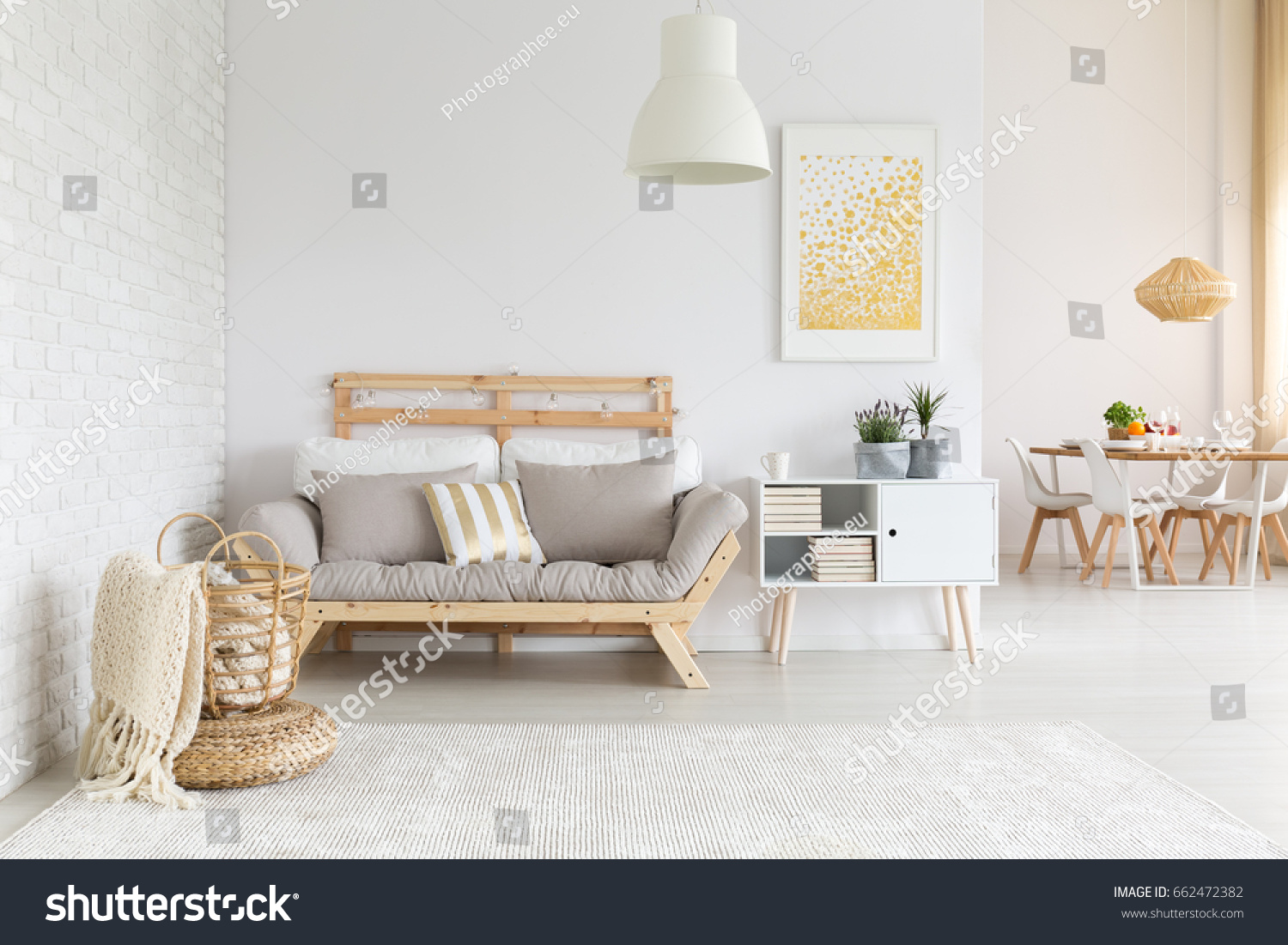 White, Beige And Gold Furniture And Decorations In Living Room Part 73