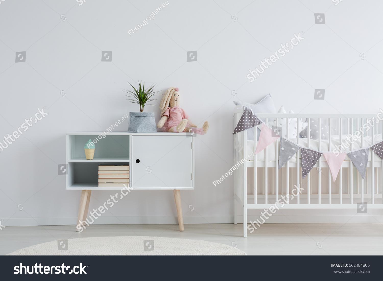White Nordic Furniture Set Baby Room Stock Photo 662484805