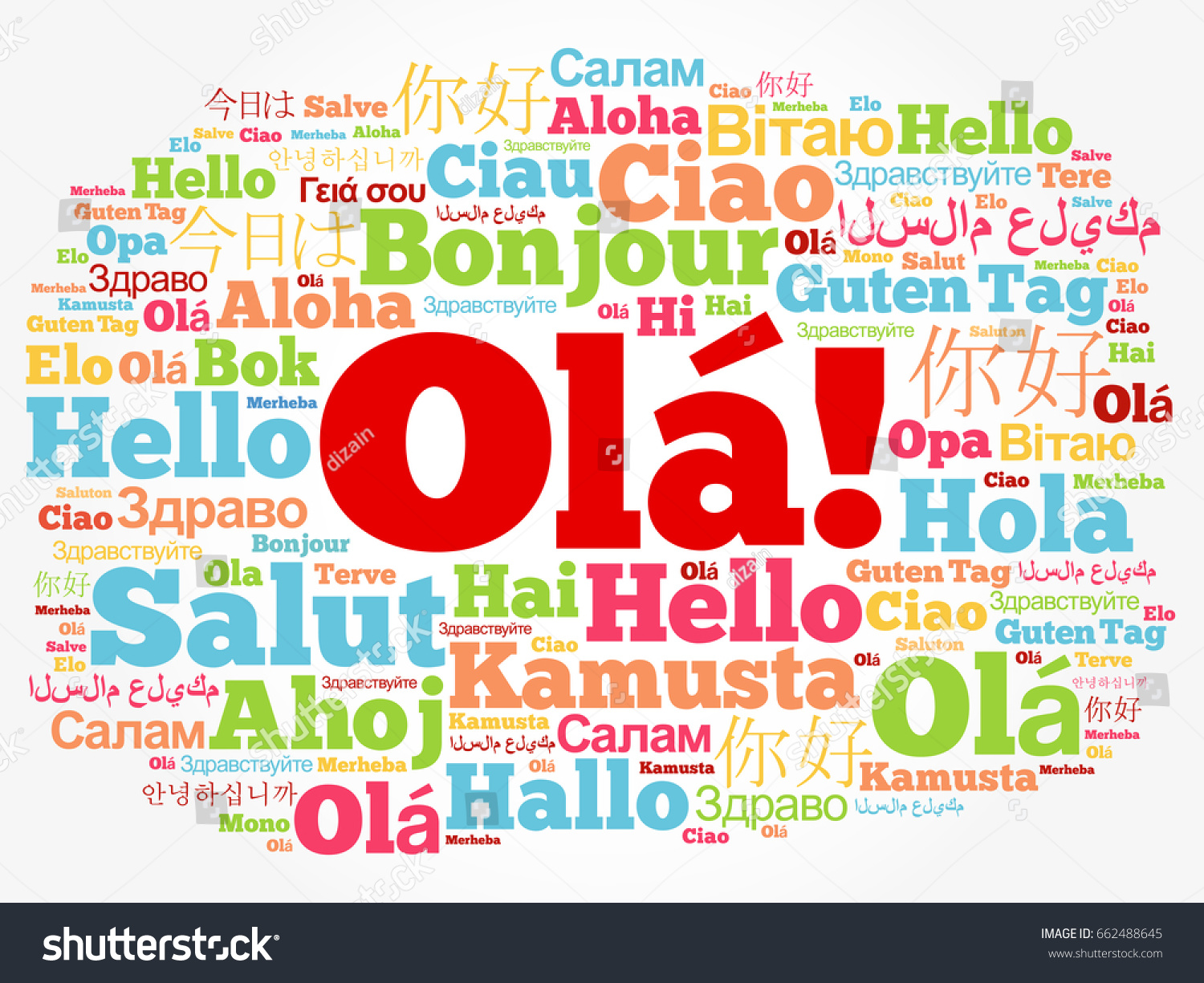 Ola Hello Greeting Portuguese Word Cloud Stock Vector Royalty Free