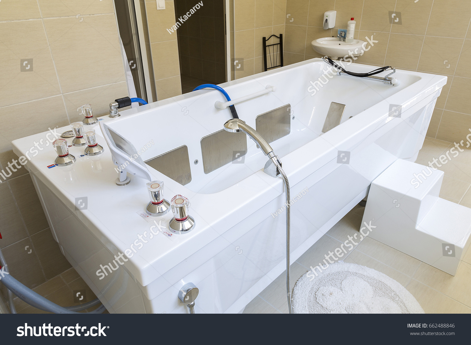 Bathtub for procedures with water in a medical and healing center ...