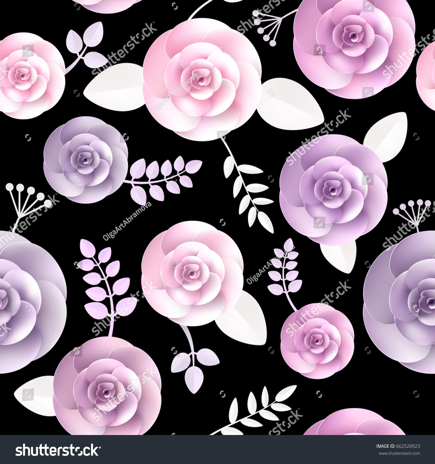 Vector Flowers Seamless Pattern Element Elegant Stock Vector
