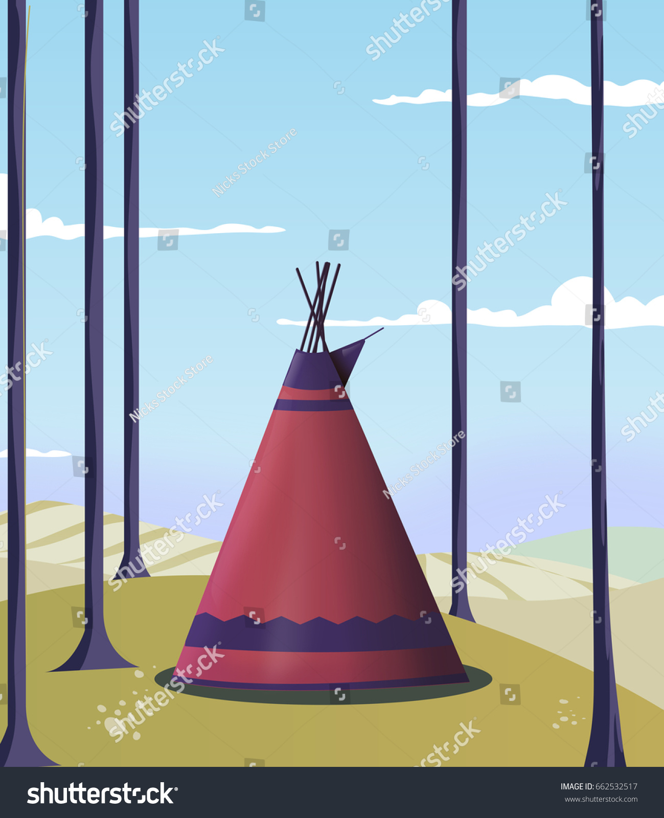 A wigwam tent outside in the woodland during the day. & Wigwam Tent Outside Woodland During Day Stock Illustration 662532517 ...