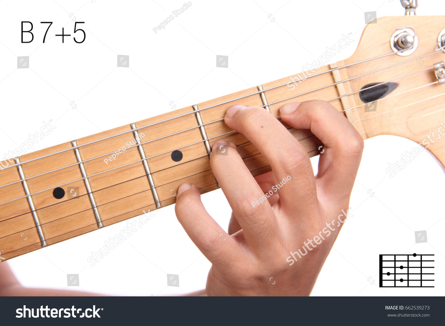 B 75 Advanced Guitar Keys Series Closeup Stock Photo Royalty Free