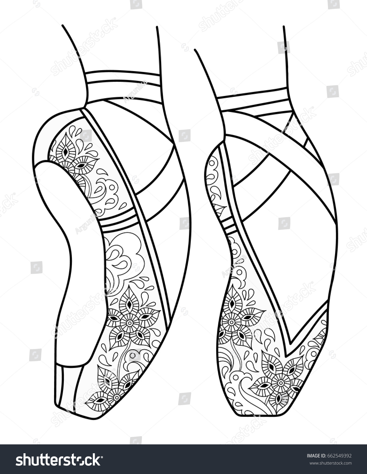 Ballet Shoes Pointe Adult Coloring Book Stock Vector 662549392 ...