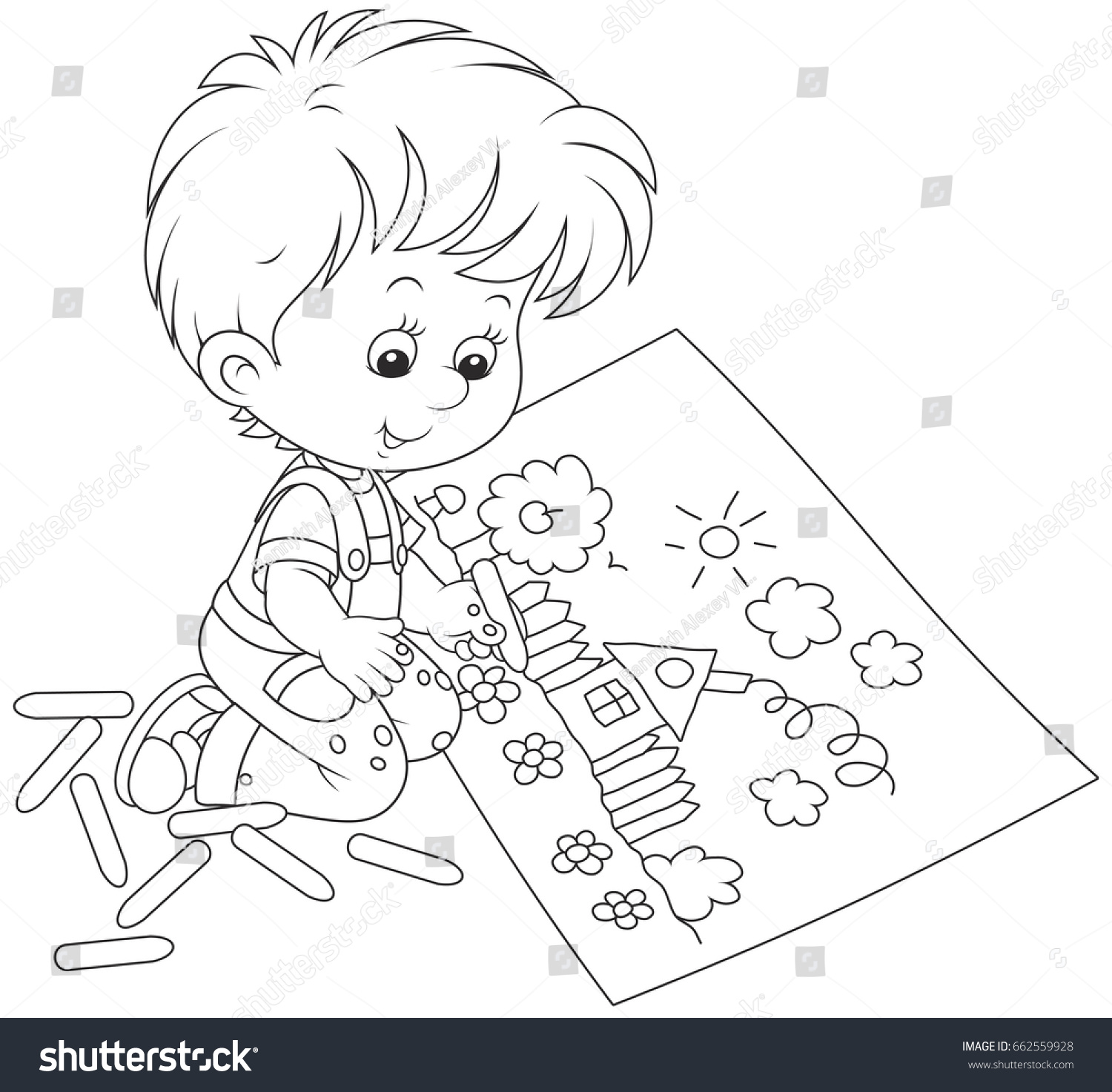 Little Boy Drawing Stock Vector Shutterstock - Hairstyle boy drawing