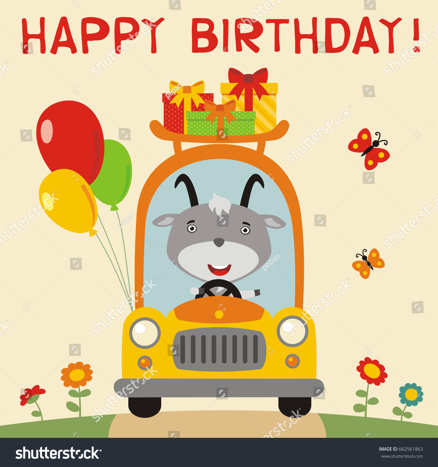 Happy Birthday Funny Goat Rides Car Vector 662561863 – Goat Birthday Card