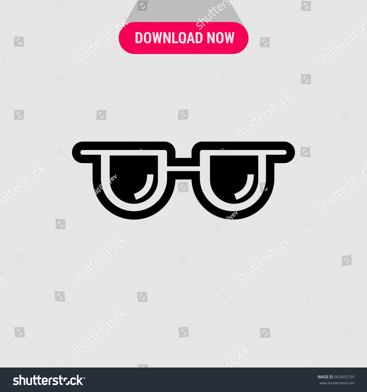 Sunglasses Vector Icon Square Glasses Symbol Stock Vector 662605159