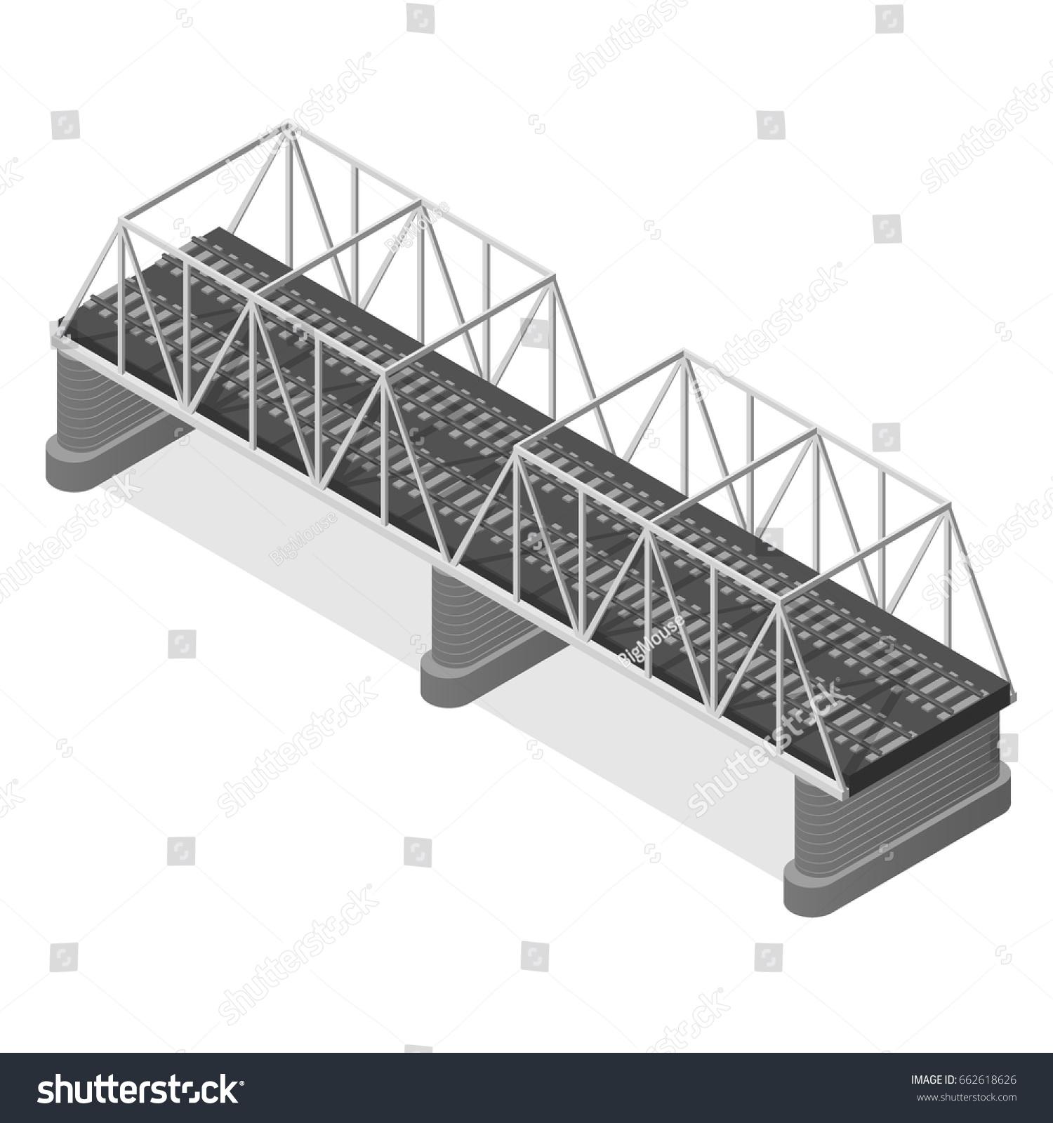 Steel Railway Bridge Isometric View Construction Stock Illustration Truss Diagram Beam Basic Use For Web And Mobile
