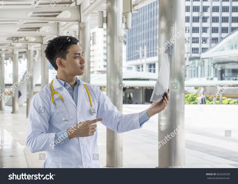 Asian Men Doctor Looking Xrays Working Stock Photo (Edit Now ...