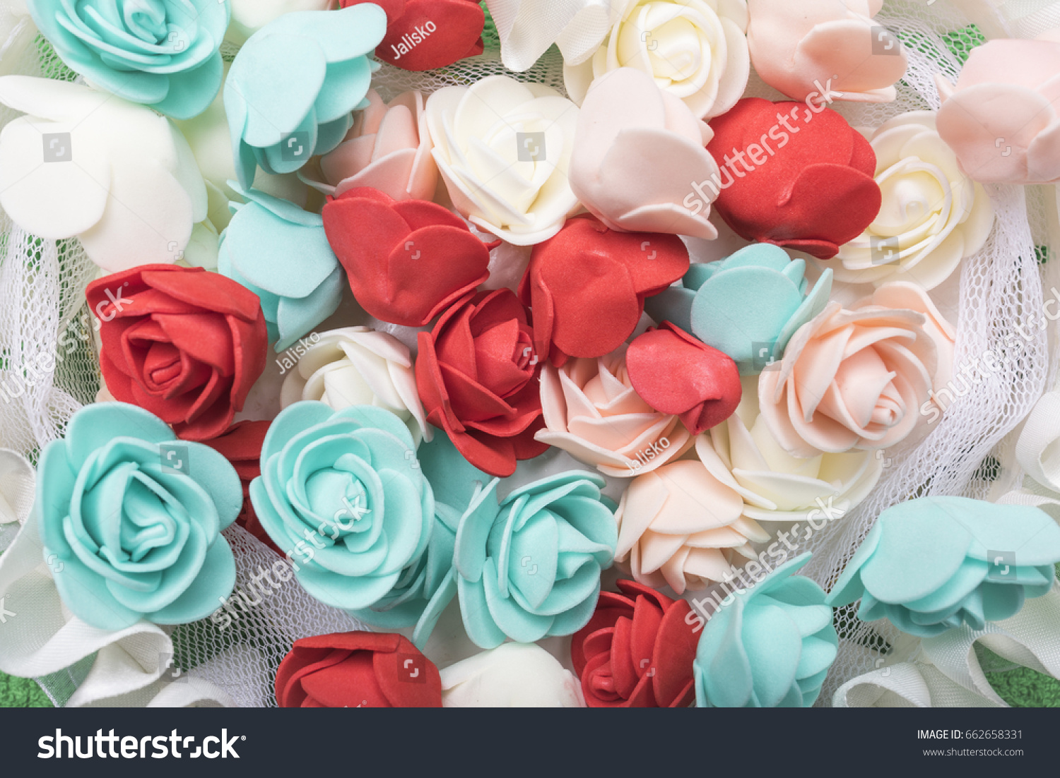 Small Artificial Rose White Red Turquoise Stock Photo (Royalty Free ...