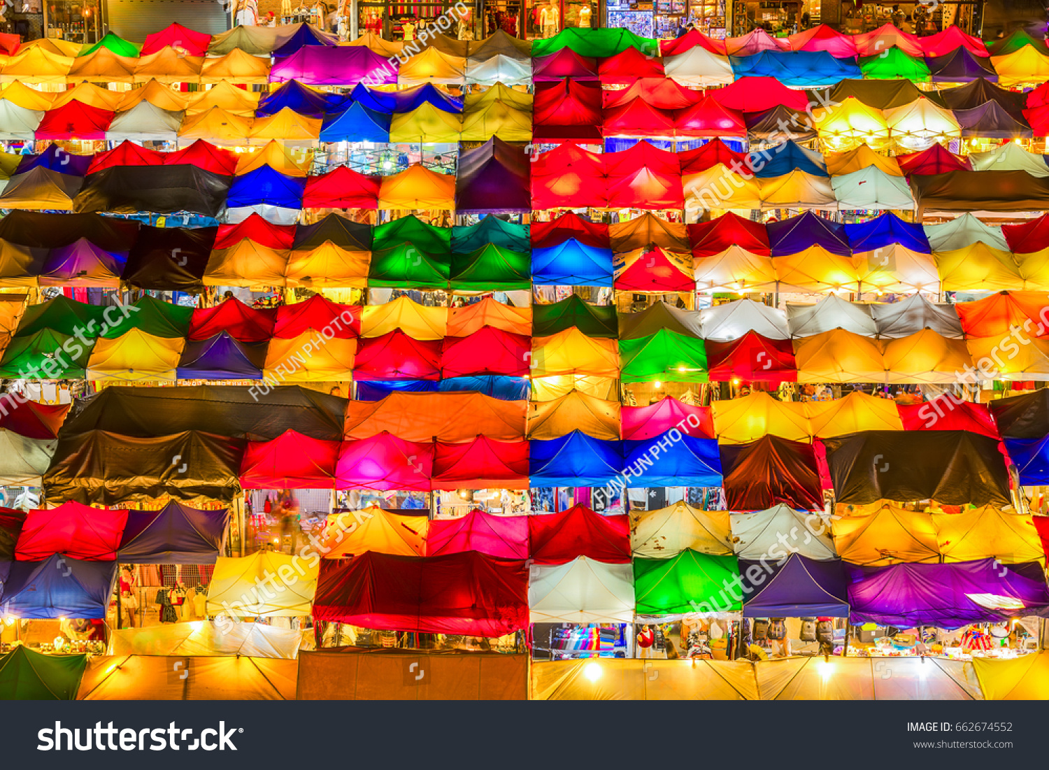 Bird eyes view of Multi-colored tents /Sales of second-hand market at & Bird Eyes View Multicolored Tents Sales Stock Photo 662674552 ...