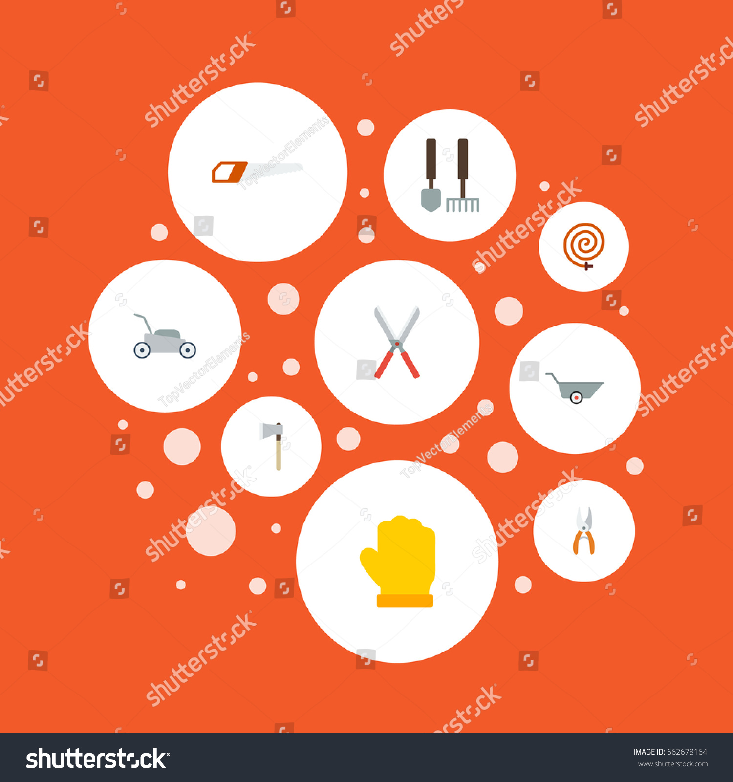 Flat Icons Axe Latex Lawn Mower Stock Vector 662678164 Shutterstock