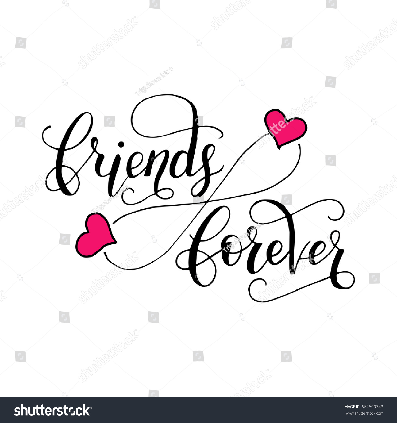 Friends Forever Lettering Card Friendship Day Stock Vector Royalty