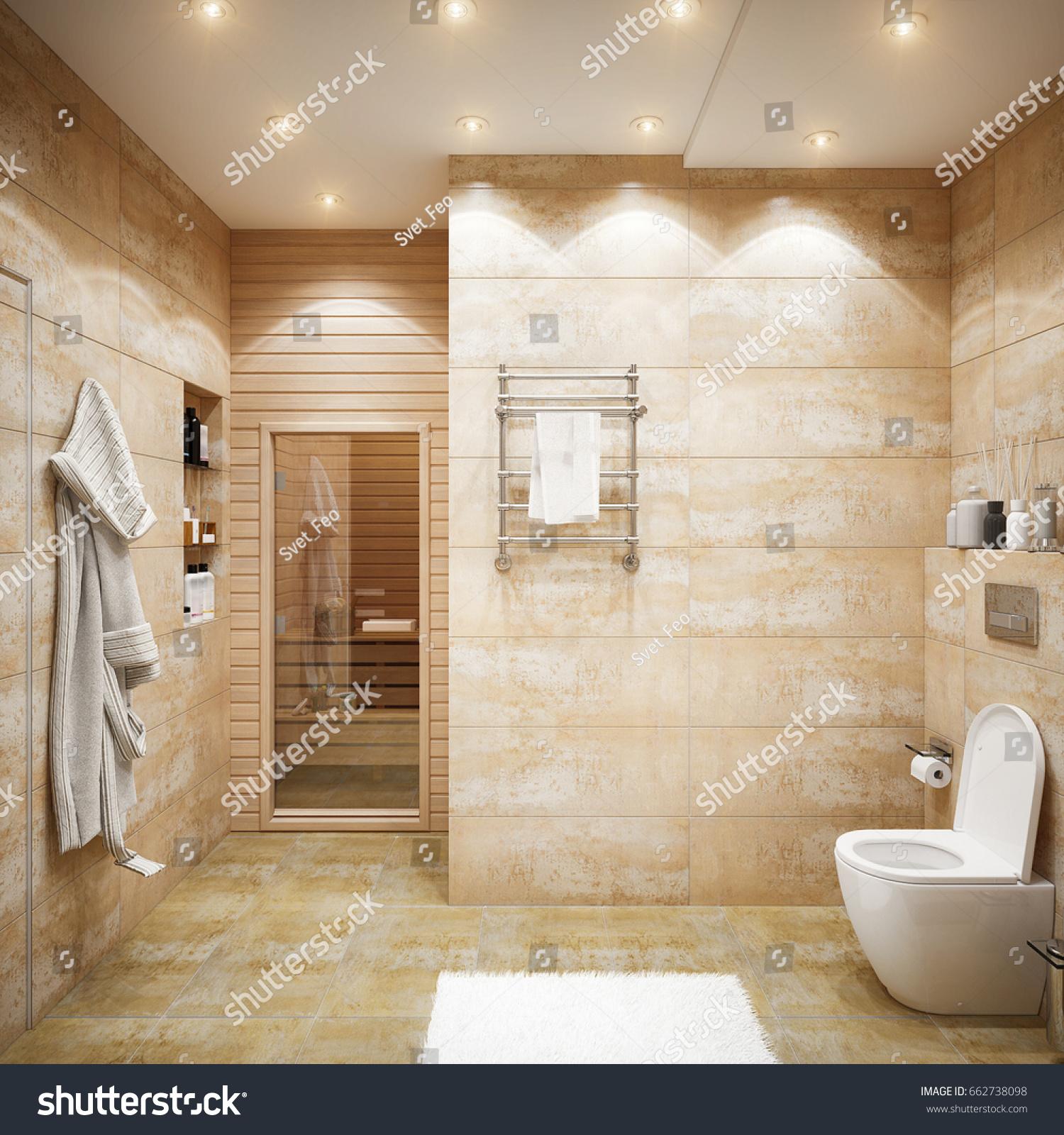 Image of: Modern Urban Contemporary Bathroom Interior Design Stock Illustration 662738098