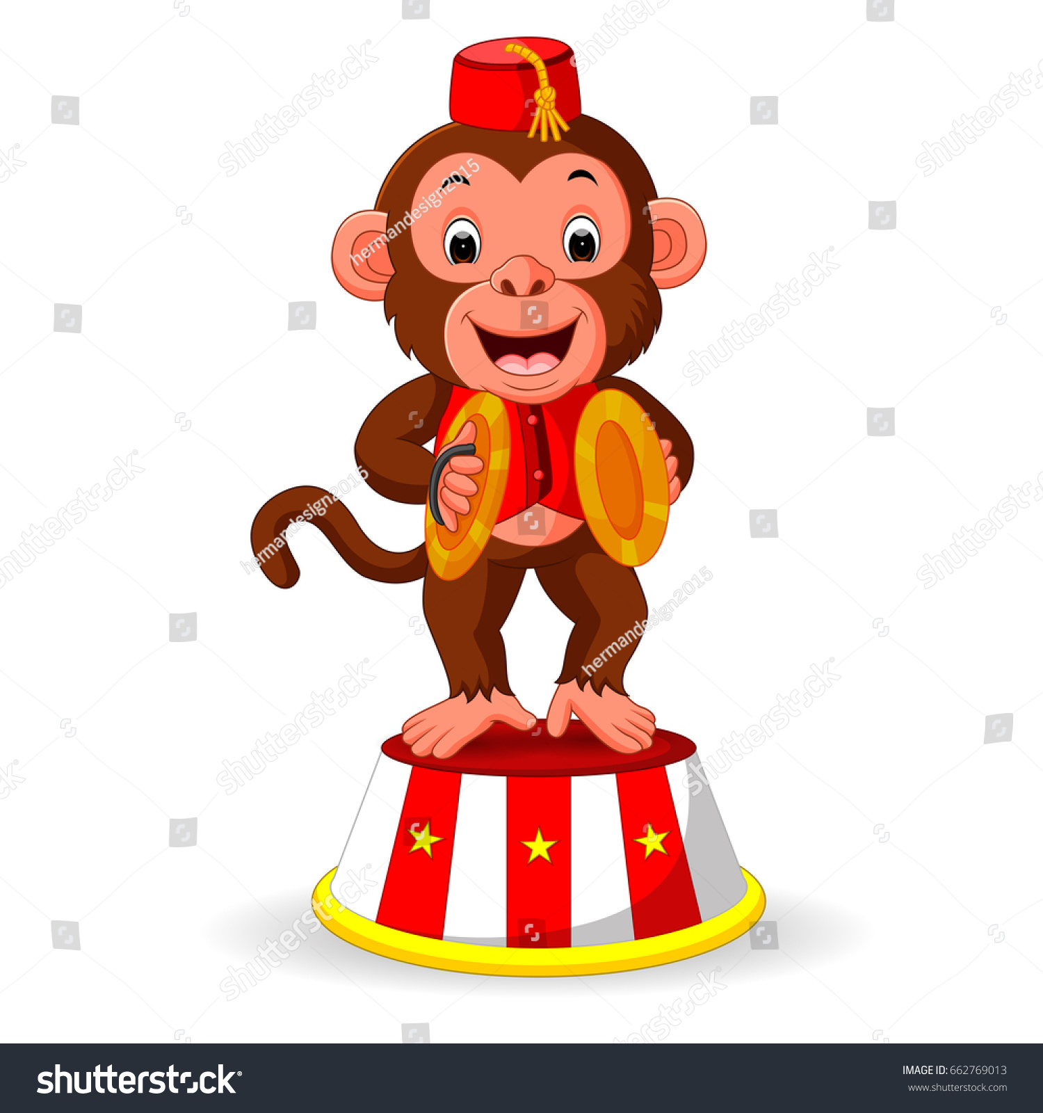 Cute Monkey Playing Percussion Hand Cymbals Stock Illustration