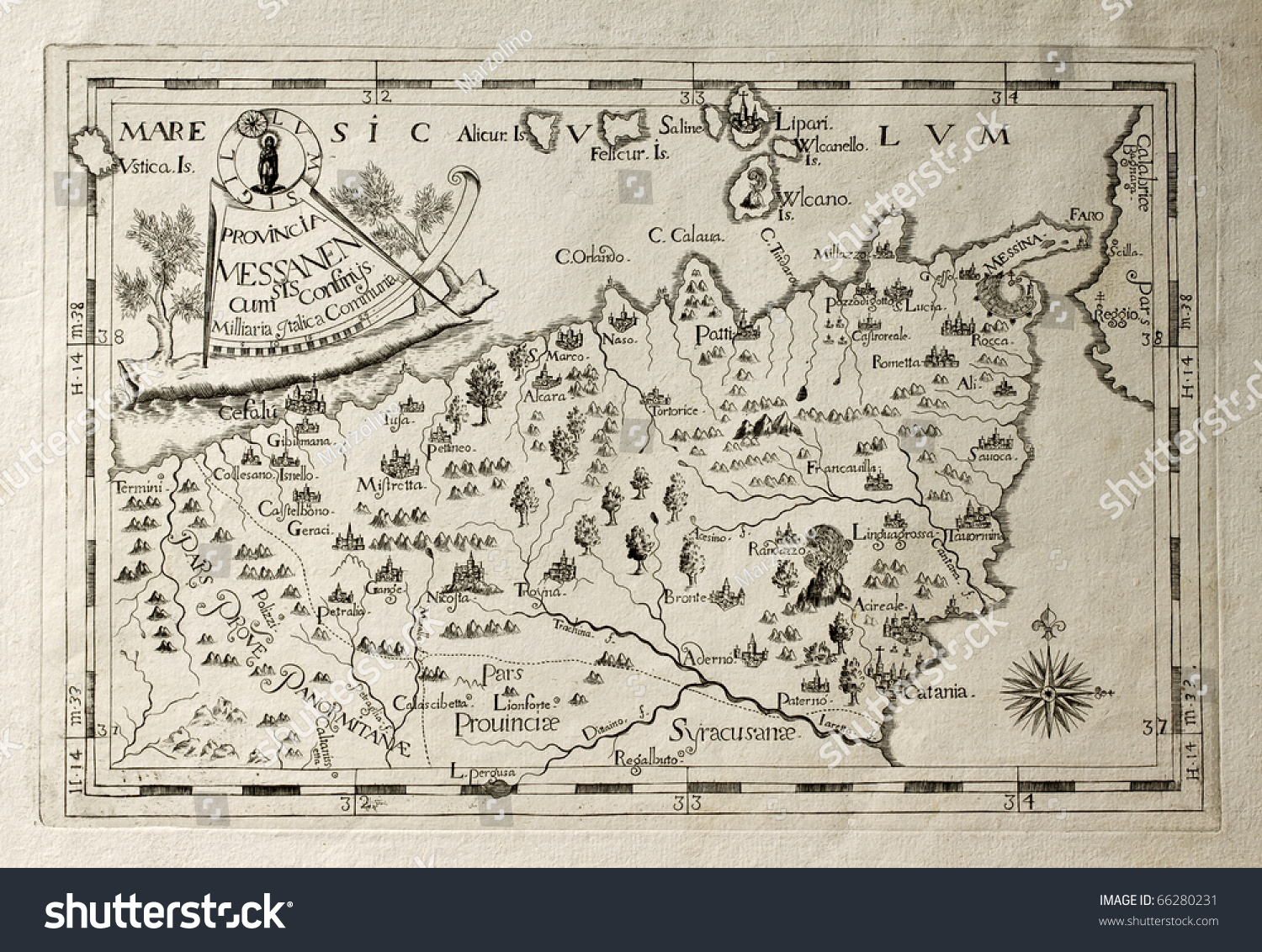Old Map Capuchins Province Messina Sicily Stock Photo 66280231