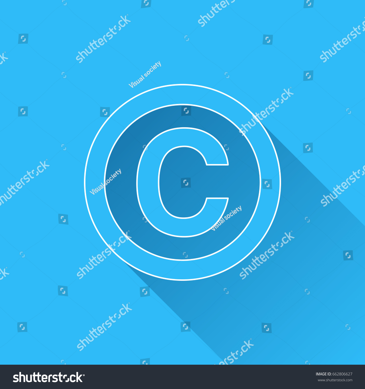 Copyright Symbol Long Shadow White Outline Stock Vector Royalty