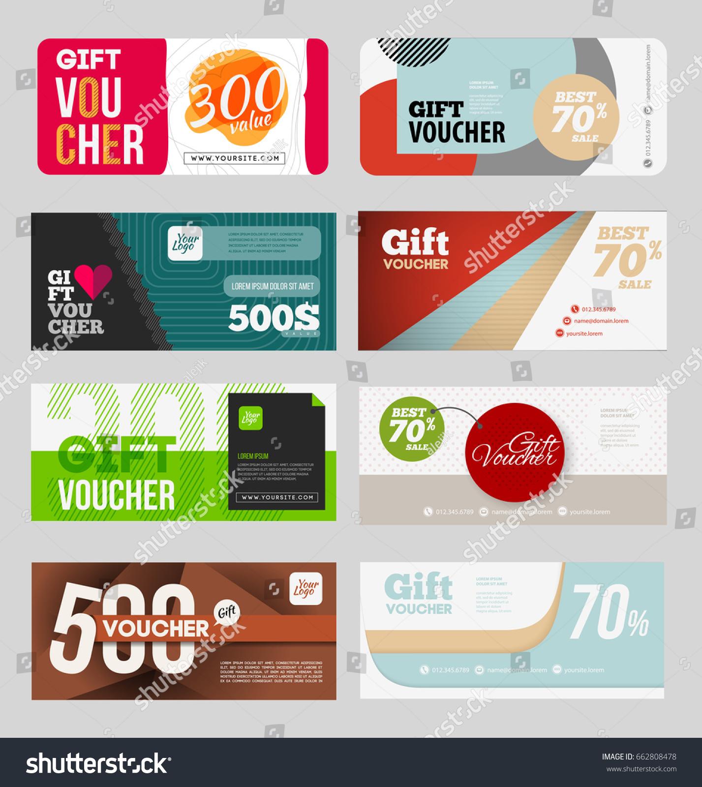 Gift Voucher Certificate Coupon Design Template Stock Vector ...