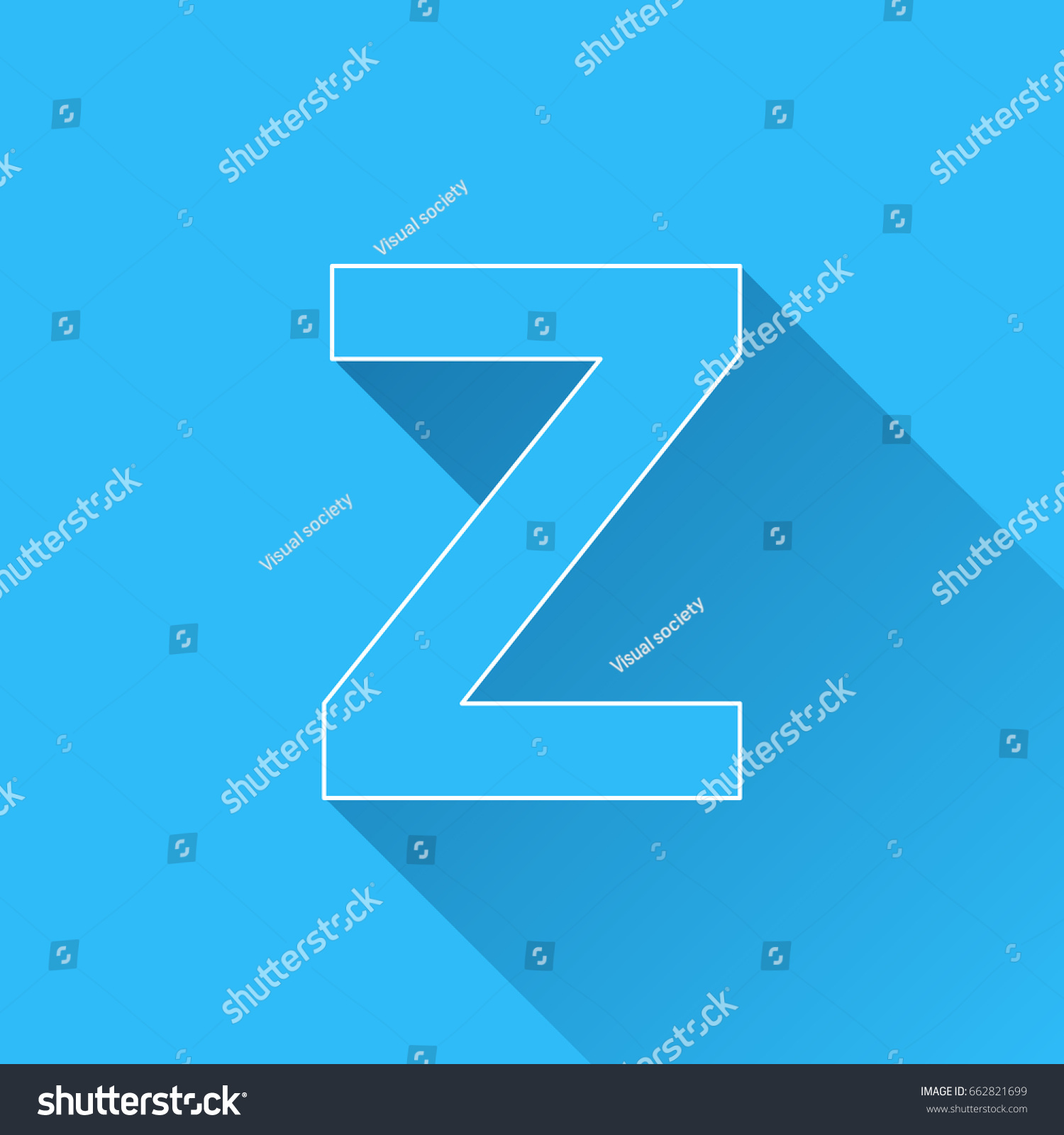 Letter Z Long Shadow White Outline Stock Vector (Royalty