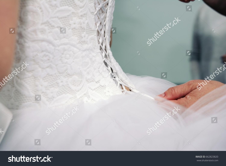 Woman Binds Corset Wedding Dress Stock Photo 662823820 - Shutterstock